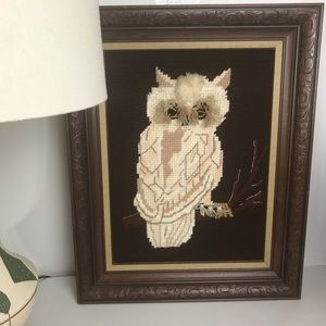 Vintage Finished Owl Cross Stitch in Wood Frame